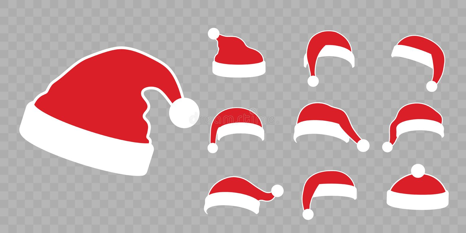 Santa Claus hat flat set. Realistic Santa Claus hat isolated transparent background. Red cap silhouette. Merry Christmas. Clothes cute cartoon design. New year vector illustration