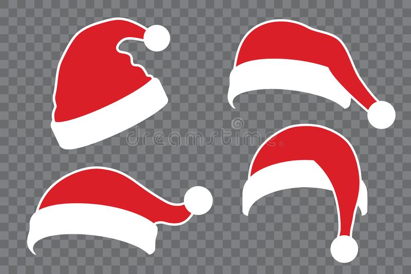 Santa Claus hat flat set. Realistic Santa Claus hat isolated transparent background. Red funny cap silhouette. Merry. Christmas clothes cartoon design. New year stock illustration