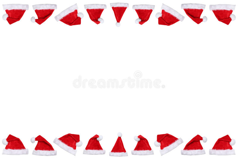 Santa Claus hat hats on Christmas border copyspace copy space wi. Nter isolated on a white background stock images
