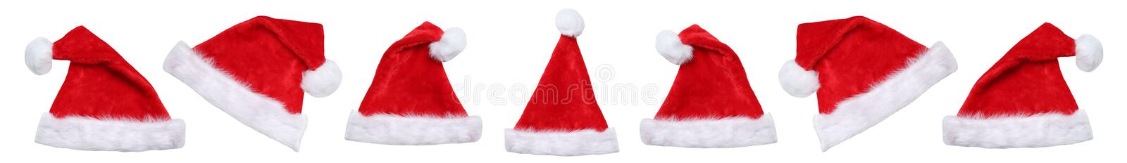 Santa Claus hat hats on Christmas winter isolated royalty free stock photography