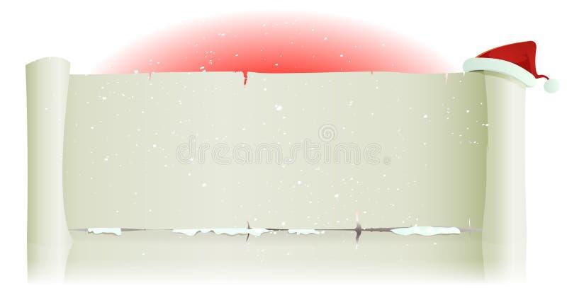 Santa Claus Hat On Merry Christmas-Pergament Backg stock abbildung