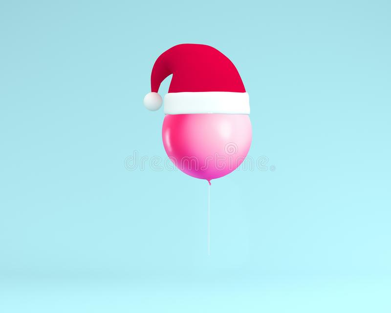Santa Claus hat with pink balloon floating on blue color background. minimal Christmas holiday and new year concept. Creative for. Festival like birthday or royalty free illustration