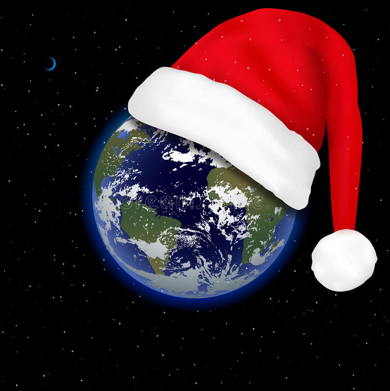 Santa Claus hat on the planet earth. Christmas is coming. The holiday is approaching. New Year in space. Earth in space and cap of Santa Claus royalty free illustration