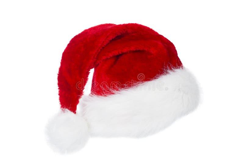 Santa Claus Hat, rotes Weihnachtshut-Weiß lokalisiert lizenzfreies stockbild