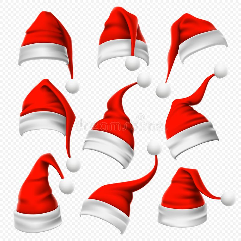 Santa Claus hats. Christmas red hat, xmas furry headdress and winter holidays head wear decoration 3D vector set royalty free illustration