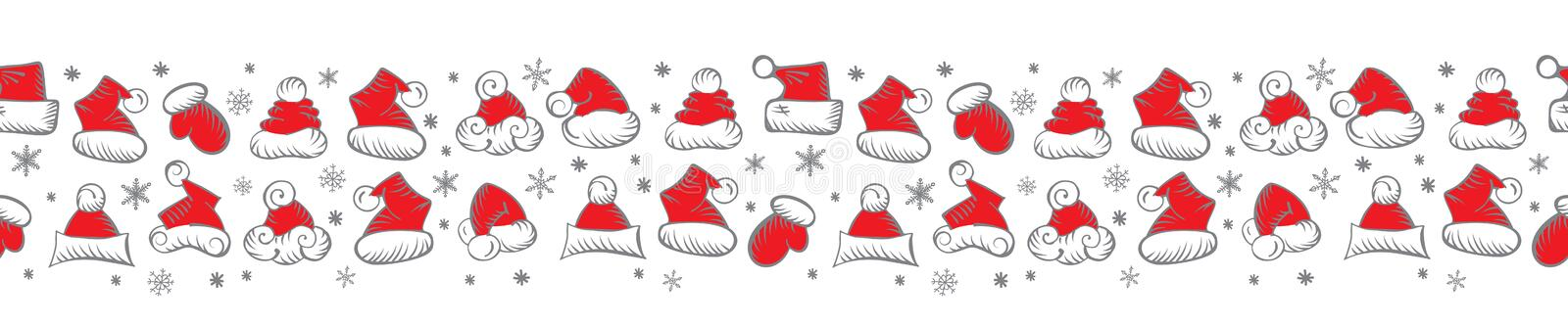 Santa Claus Hats Christmas Seamless Pattern for Holiday Packaging royalty free illustration