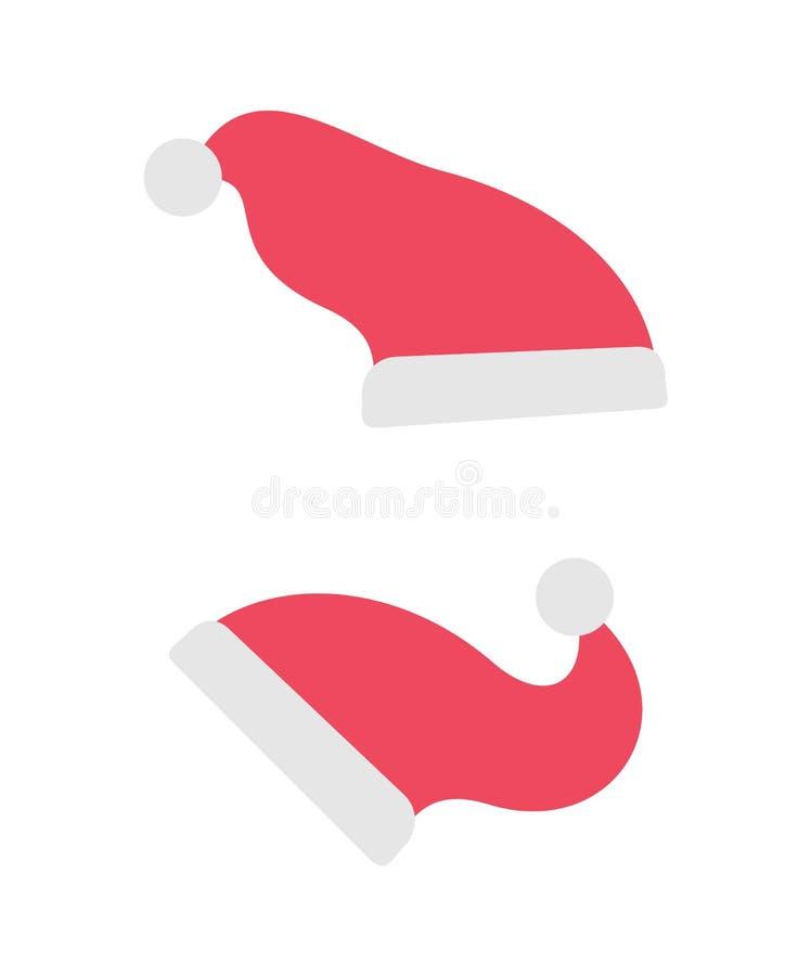 Santa Claus Hats, Red Accessory, Holiday Clothing royalty free illustration