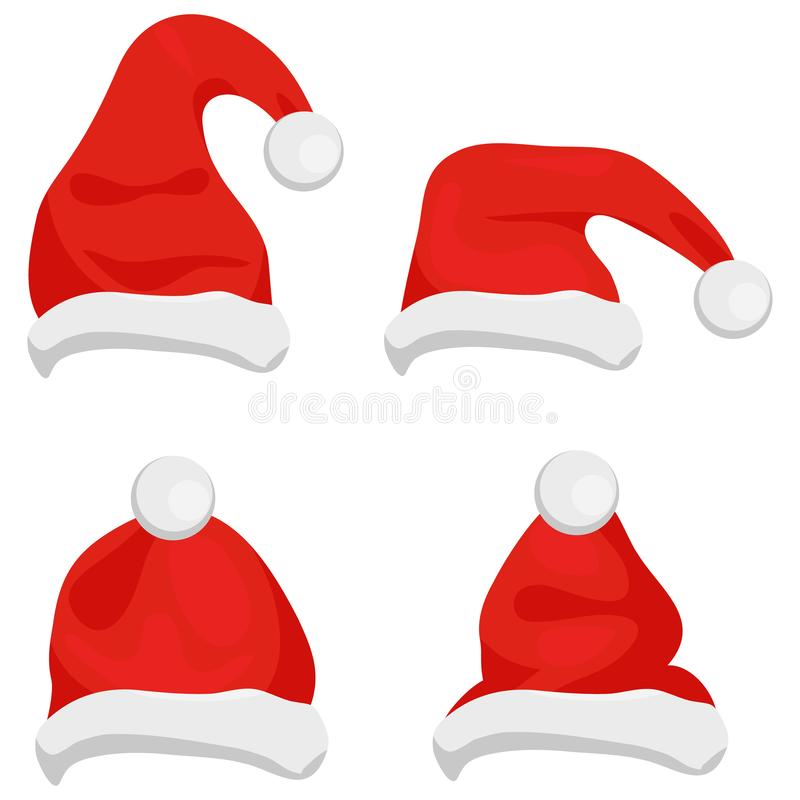 Santa Claus hats of red color, traditional costume element for winter character. Santa christmas hat vector illustration. Red sant. A top hat isolated on white stock illustration