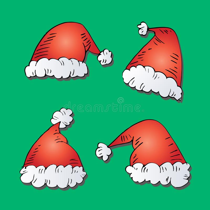 Santa Claus Hats. With green background royalty free illustration