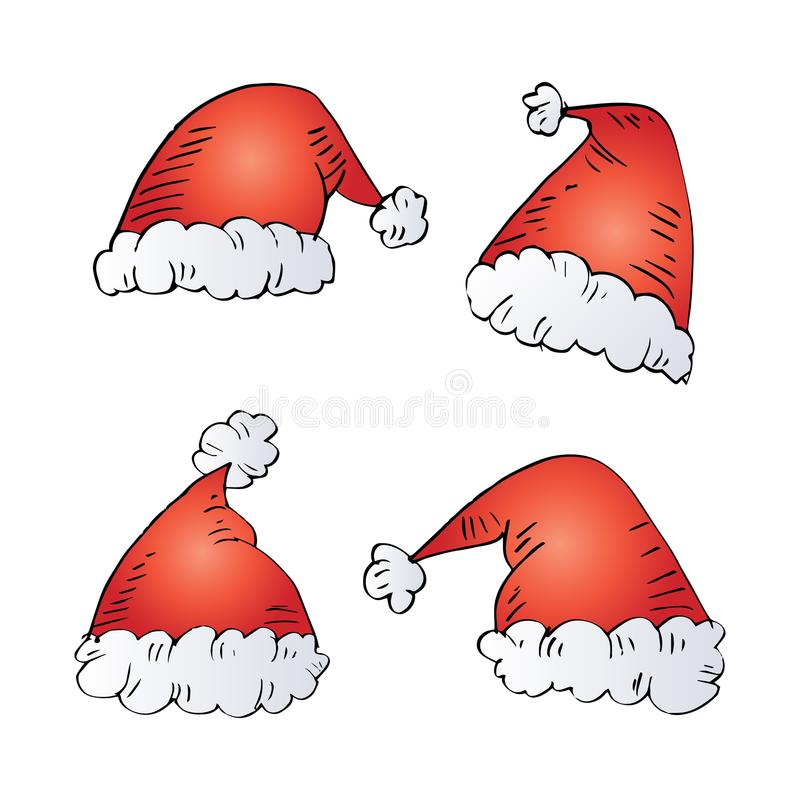 Santa Claus Hats. With white background royalty free illustration