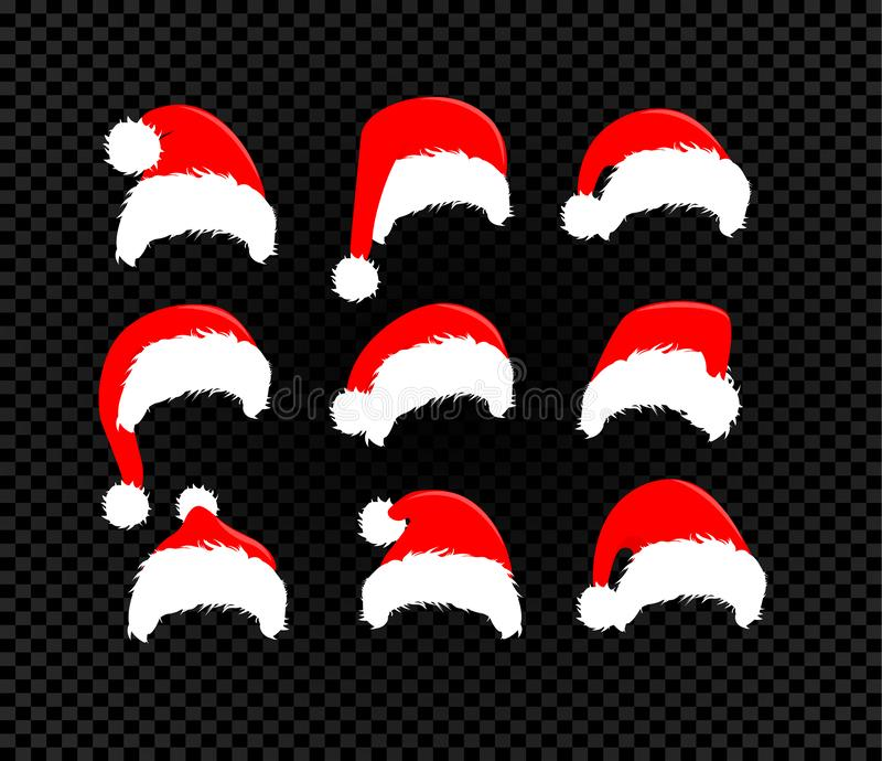 Santa Claus hats set, vector icons, winter red hat collection for merry christmas and new year decoration royalty free illustration
