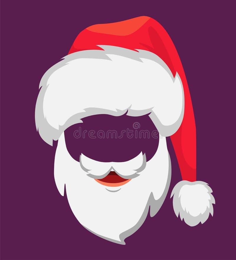 Santa Claus hatt och skägg vektor illustrationer