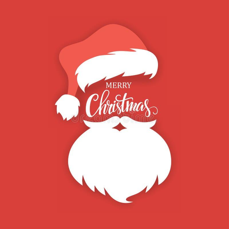 Santa Claus hatt och skägg på en röd bakgrund stock illustrationer