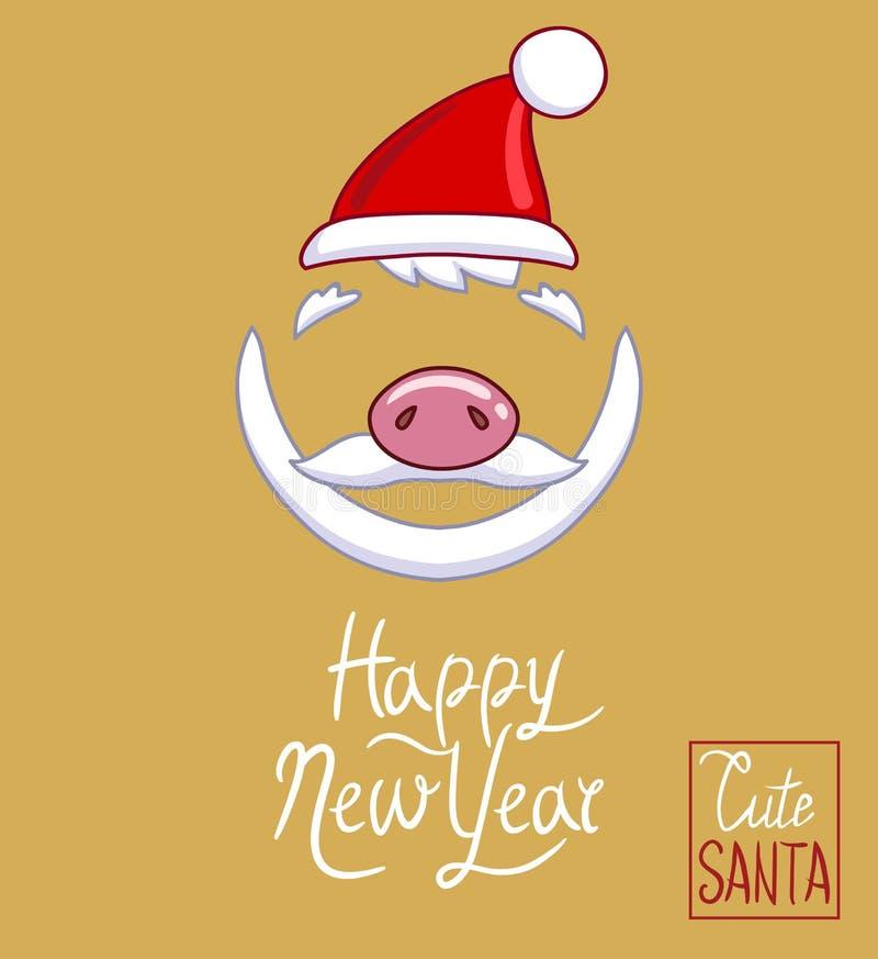 Santa Claus hatt, piggy näsa, skägg och mustasch vektor illustrationer