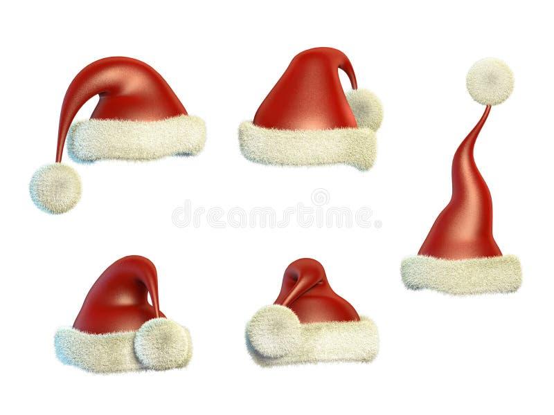 Santa Claus hattar royaltyfri illustrationer