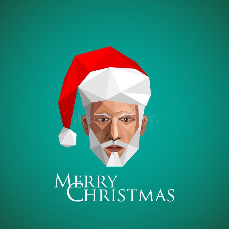 Santa claus head. christmas illustration in polygonal style. Santa claus head. christmas illustration in origami style vector illustration