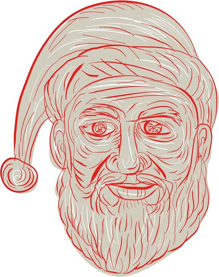 Santa Claus Head Drawing mélancolique illustration de vecteur