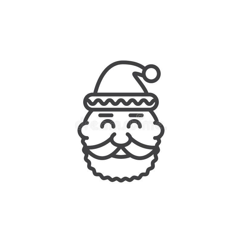 Santa Claus Head-lijnpictogram, overzichts vectorteken, lineaire pictogra royalty-vrije illustratie