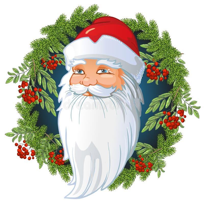 Santa Claus Head russe à l'intérieur d'une guirlande des brindilles de sapin et de sorbe, des feuilles et des baies de cendre de  illustration de vecteur