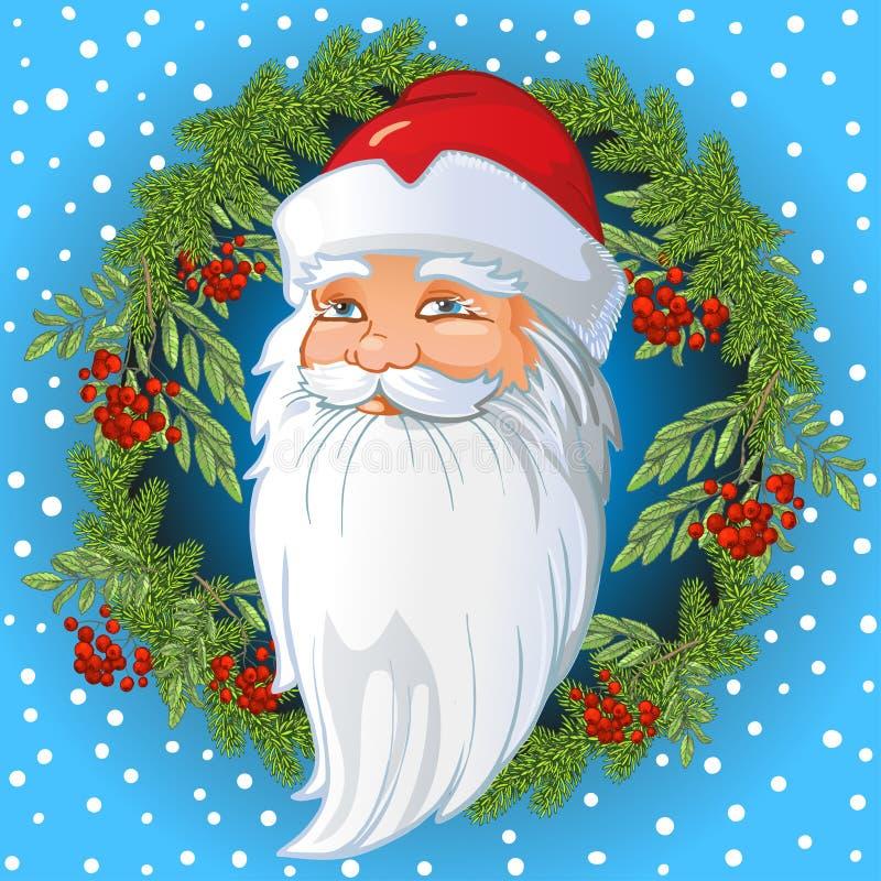 Santa Claus Head russe à l'intérieur d'une guirlande des brindilles de sapin et de sorbe, des feuilles et des baies de cendre de  illustration libre de droits