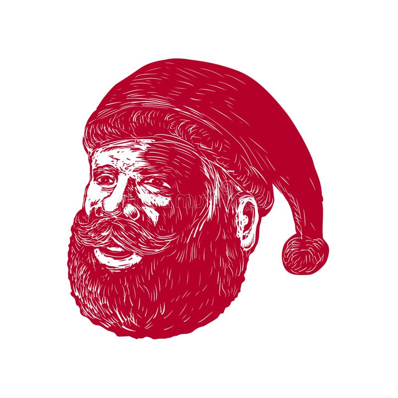 Santa Claus Head Woodcut. Retro woodcut style illustration of head of Santa Claus , Saint Nicholas, St. Nick or Kris Kringle three-quarter view on isolated royalty free illustration