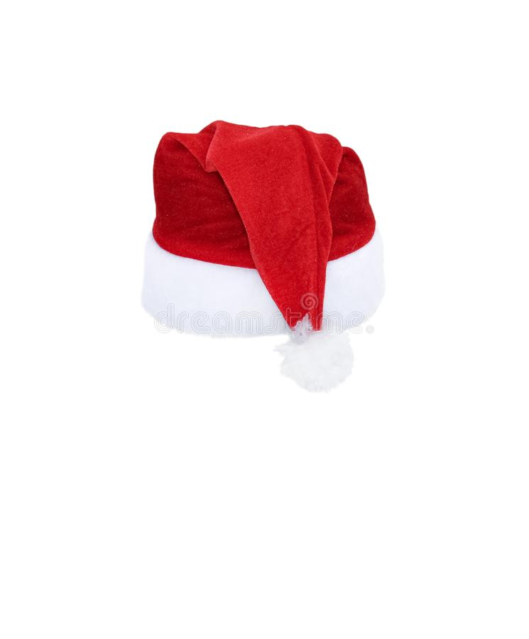 Santa Claus helper red hat isolated on white background. Red christmas hat or cap isolated on white royalty free stock image