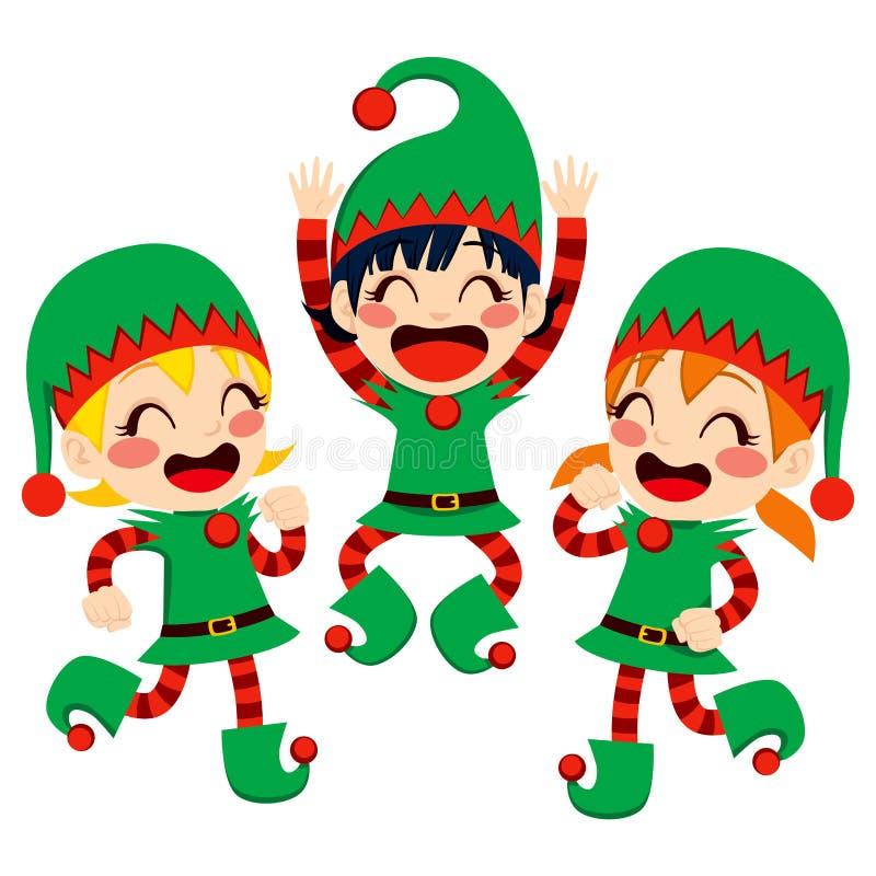 Santa Claus Helpers Dancing royalty-vrije illustratie