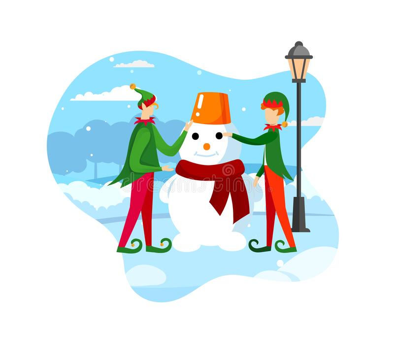 Santa Claus Helpers Playful Elves Making-Sneeuwman vector illustratie