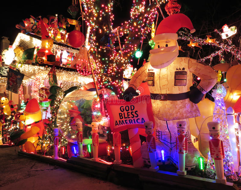 Santa Claus Hero. Photo of christmas home in the suburbs of virginia during the new year 2016 on 1/2/16. This is one of the 10 best decorated homes in the state royalty free stock image