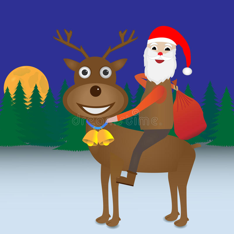 Santa Claus-het berijden Rendier royalty-vrije illustratie
