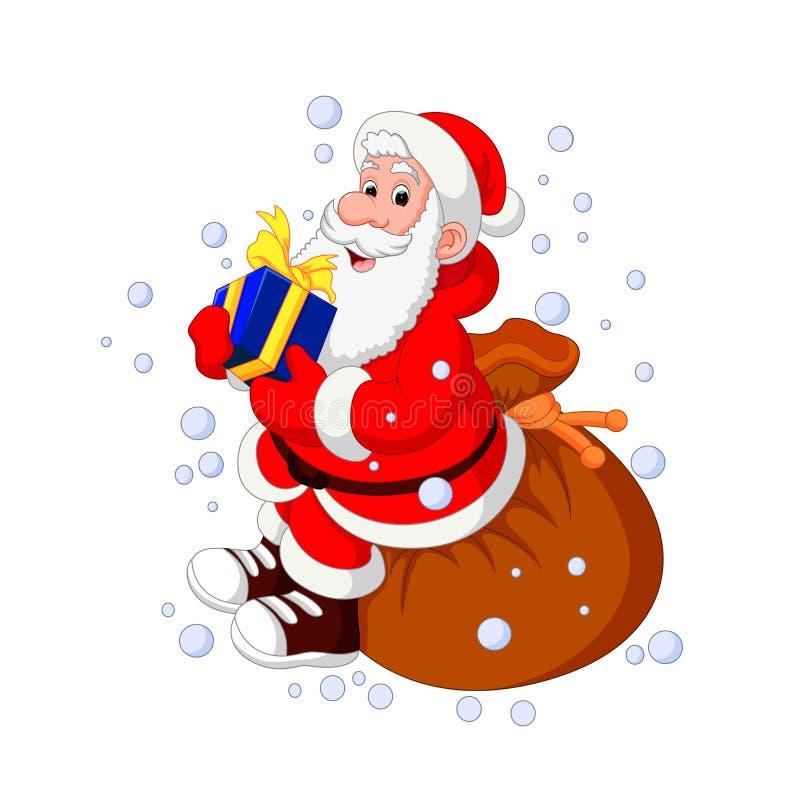 Santa Claus-het hoogtepunt van de zittingszak van giften royalty-vrije illustratie