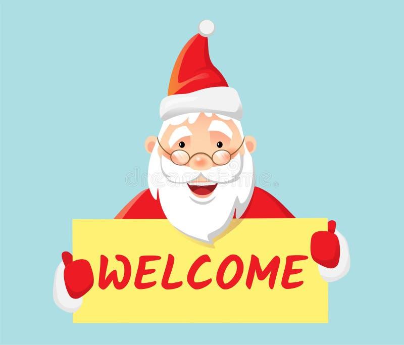Santa Claus-het onthaal van de holdingsaffiche royalty-vrije illustratie