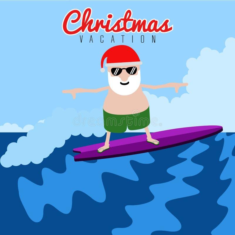 Santa Claus-het surfen De vakantie van de Kerstmiszomer vector illustratie