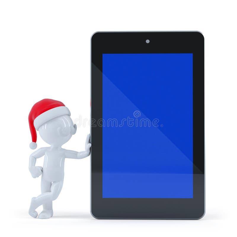 Santa Claus heureuse avec la tablette d'écran vide illustration stock