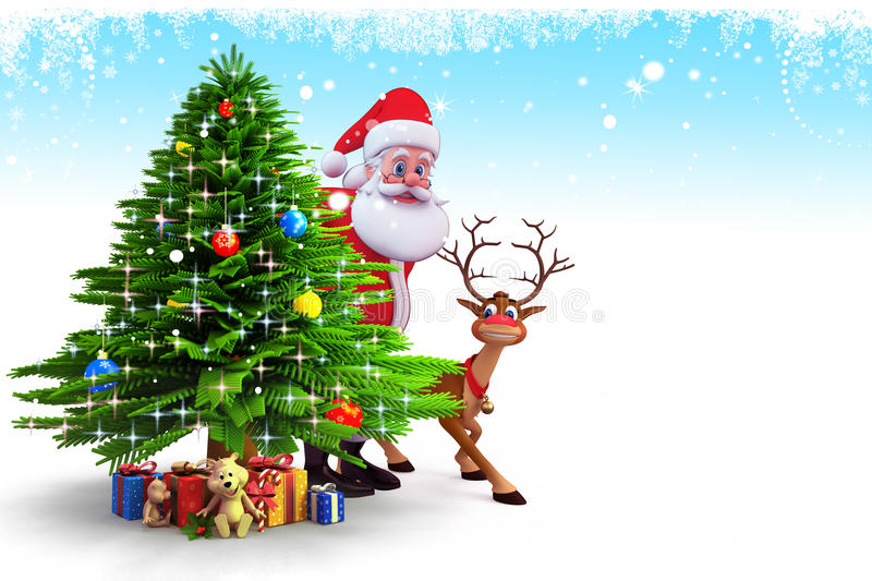 Santa Claus Hiding Behind Tree With Deer Royalty Free Stock Images
