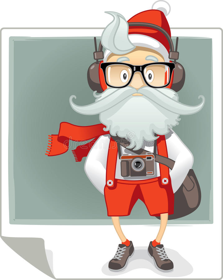 Santa Claus Hipster Style Cartoon illustrazione vettoriale