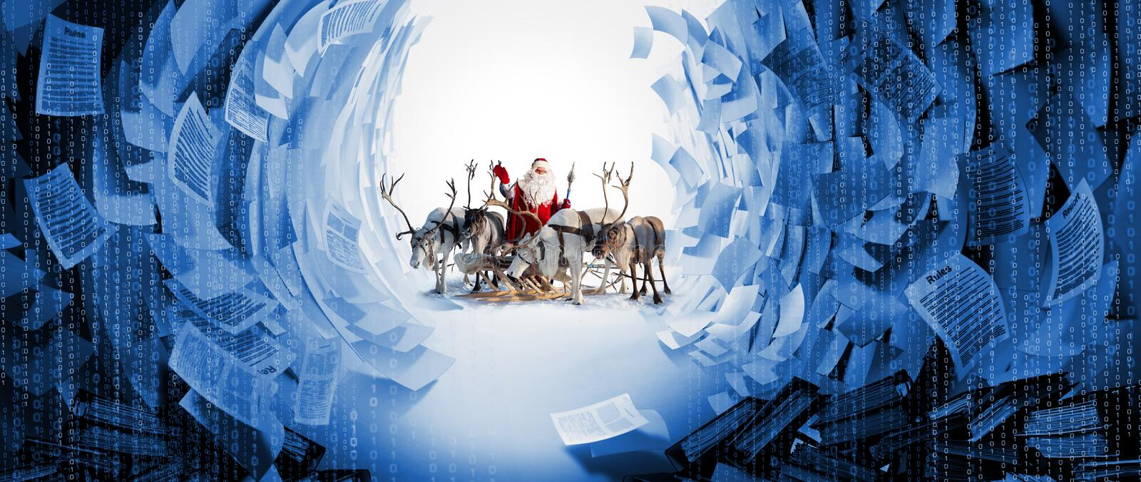 Santa Claus and his deer in Cristmas holiday stock photo