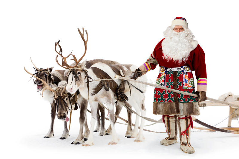 Santa claus and his reindeer stock image