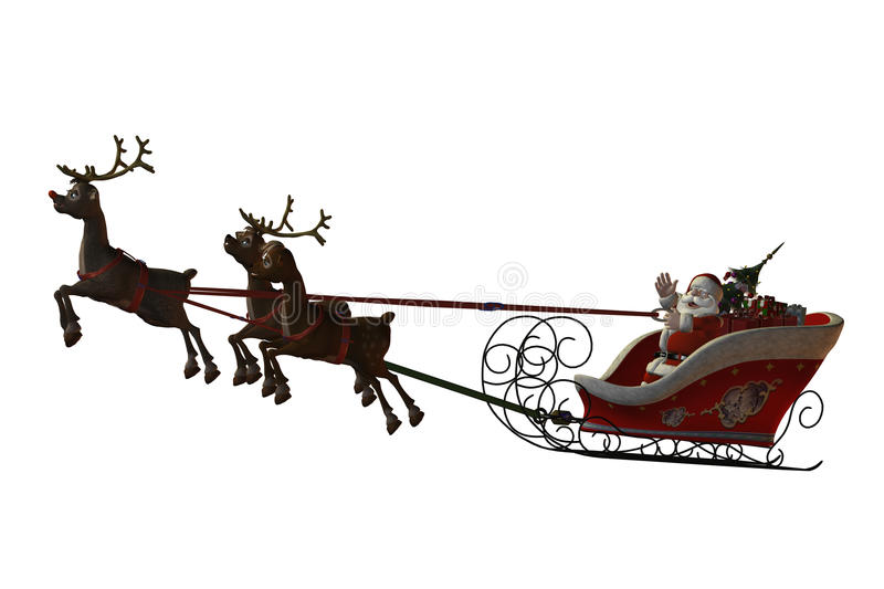 Download Santa Claus And His Reindeers Stock Illustration - Image: 18654803