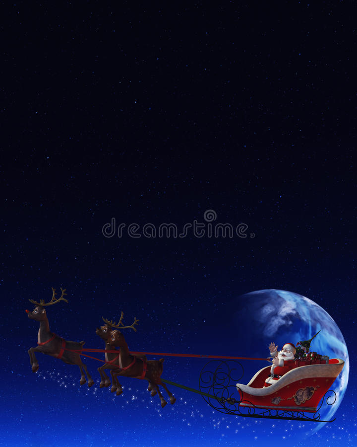 Santa Claus and his Reindeers royalty free illustration