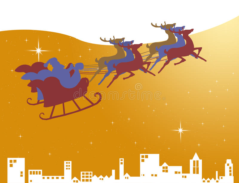 Download Santa Claus in his sleigh stock illustration. Image of present - 21806539