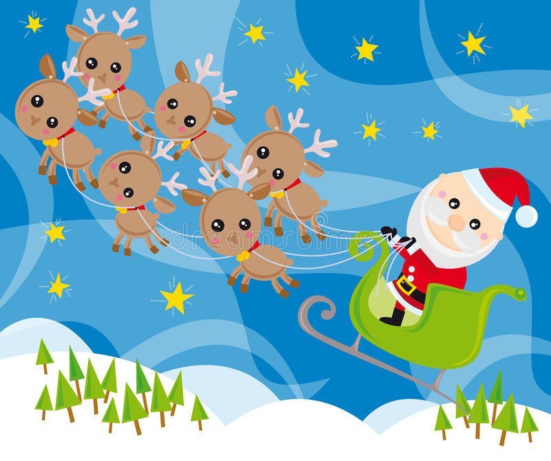 Santa claus and his sleigh. Illustration of santa claus, sleigh and reindeers