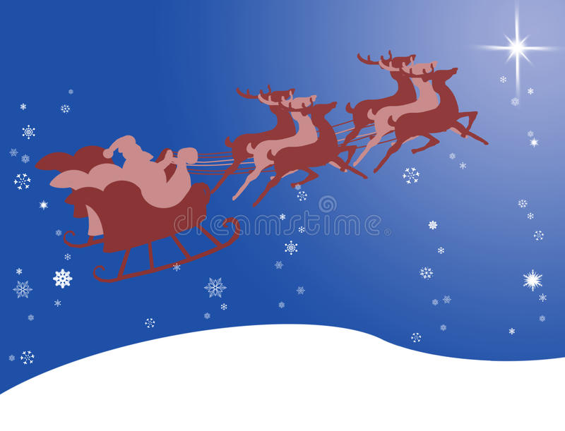 Santa Claus in his sleigh with bright star