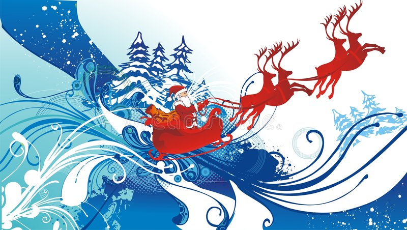Download Santa Claus And His Sleigh Flying Stock Vector - Image: 7242470