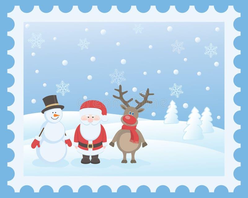 Santa Claus, hjortar och snögubbe stock illustrationer