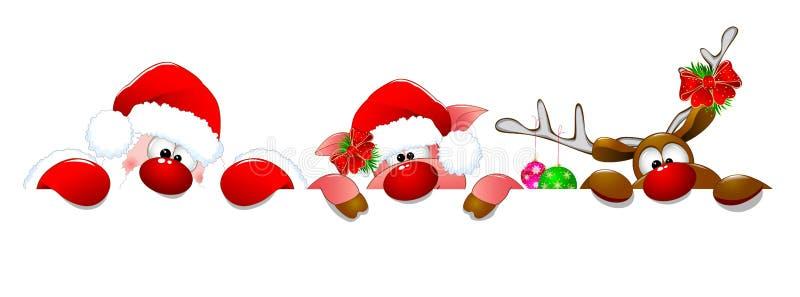 Santa Claus, hjortar och spädgris royaltyfri illustrationer