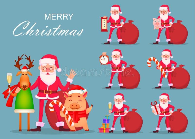 Santa Claus, hjortar och svin, uppsättning royaltyfri illustrationer