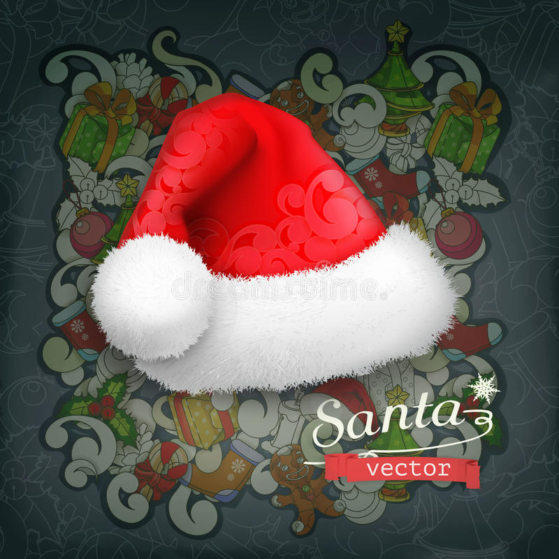 Santa Claus-hoed royalty-vrije illustratie