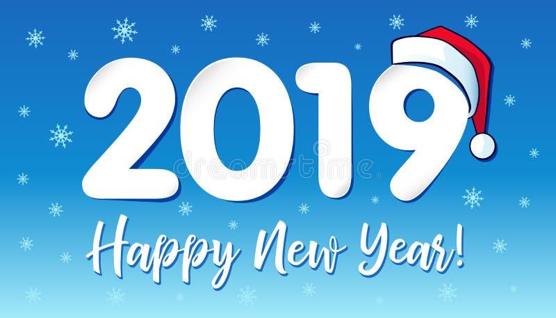 2019 in Santa Claus-hoed, Gelukkig Nieuwjaarskaartontwerp vector illustratie