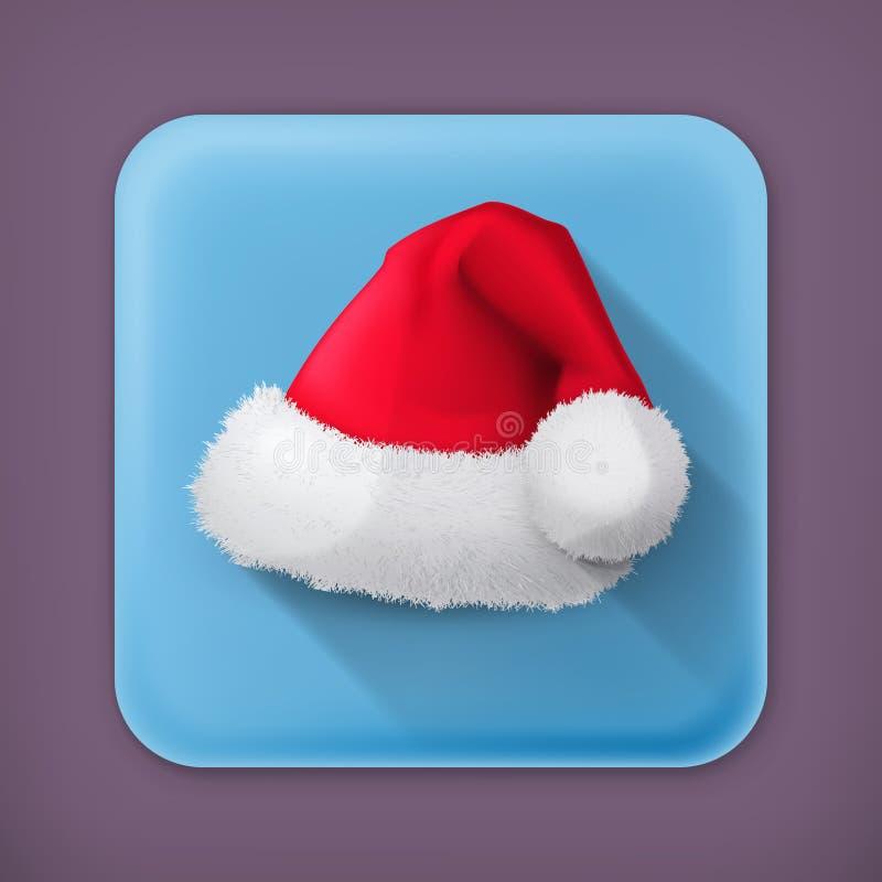 Santa Claus-hoed, vectorpictogram royalty-vrije illustratie